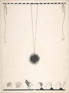 """Romain de Tirtoff (Erté): """"Érase una vez una noche de Navidad"""" (ilustración para Harper´s Bazaar - 1919) - La imagen muestra un dibujo realizado sólo con línea negra. la mayor parte de la página está en blanco. De una barra dibujada en la parte superior cuelga una gran bola de muérdago que llega hasta más abajo del centro del encuadre. En la parte inferior se pueden ver seis cabezas, tres femeninas en la parte izquierda y tres masculinas en la derecha, mirándose y disponiéndose a besarse bajo el muérdago. Pulse para ampliar."""
