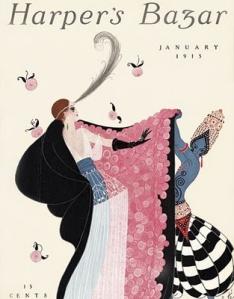 Romain de Tirtoff (Erté) - Cubierta para Harper´s Bazaar (1915) - La imagen muestra la portada del número de enero de 1915 de la revista. Sobre un fondo claro de color crema se disponen dos figuras femeninas dibujadas de modo estilizado: a la izquierda una dama de porte y ropas aristocráticas (traje de noche de cuerpo azul y falda larga de tul blanco y capa negra con forro rosa salpicado de flores blancas) y otra mujer de porqte exótico y piel azul, tocada con una especie de turbante dorado, desnuda de cintura para arriba que lleva una especie de pantalones anchos de talle dorado y tela a grandes rayas blancas y negras. La mujer del turbante parece estar ayudando a la otra a ponerse la capa. Pulse para ampliar.