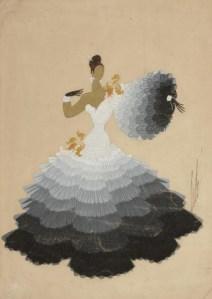 """Romain de Tirtoff (Erté). """"Danseuse de tango"""" - Ilustracion a gouache (1947) - La imagen muestra a una mujer sobre fondo beige, de piel oscura y vestida con un traje largo de volantes, con los hombros al descubierto. El traje está adornado desde la cintura con multitud de volantes plisados y el color del vestido va en degradado desde el blanco del cuerpo al gris oscuro de la parte inferior de la falda. Pulse para ampliar."""