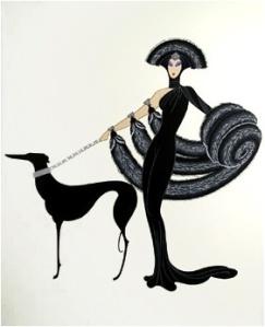 """Romain de Tirtoff (Erté): """"Sinfonía en negro"""" (serigrafía, 1983) - La imagen muestra, sobre un fondo blanco neutro a una mujer vestida de begro de pies a cabeza, muy estilizada, con un tocado en la cabeza en forma de abanico abiero y cubierta con una estola de piel que cae por sus hombros y tirando de la correa de un galgo, también de color negro y estilizado. Pulse para ampliar."""
