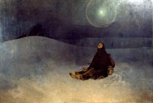 """A. M. Mucha - """"Mujer en el páramo"""", también conocido como """"Noche de Invierno"""" (1920) - La imagen muestra un paraje yermo, nevado, de noche. En el centro de la composición está una mujer sentada, con los brazos extendidos y las palmas giradas hacia arriba en gesto impotente mientras mira hacia la noche con gesto desesperado. Pulse para ampliar."""
