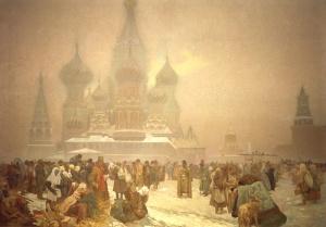 """A. M. Mucha - """"La abolición de la esclavitud en Rusia"""" (segundo lienzo de """"La Epopeya Eslava"""" (1913) - La imagen muestra la explanada delante del Kremlin de Moscú donde un grupo de personas pobremente vestidas se arrodillan en la nieve. Pulse para ampliar."""