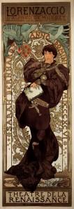 """A. M. Mucha - Cartel para """"Lorenzaccio"""" (1896) - La imagen muestra otro cartel teatral de formato largo vertical en el que la actriz Sarah Bernhardt aparece caracterizada como Lorenzaccio, el protagonista de la obra de Alfred de Musset. La actriz lleva el pelo corto y está completamente vestida de negro y cubierta con una capa cuya caída envuelve a la figura en una onda. El fondo está completamente decorado con grutescos renacentistas y sobre el arco que enmarca la cabeza puede verse un dragón y por encima de él, el título de la obra. Pulse para ampliar."""
