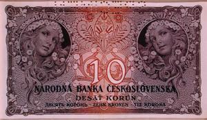 Billete de 10 coronas. Checoslovaquia. Diseño de A. M. Mucha (1931) - La imagen muestra un billete de banco de color rojizo decorado en sus extremos con dos medallones en los que aparece la cara de una joven con el pelo adornado de flores. Pulse para ampliar.