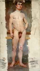 A. M. Mucha - Estudio de desnudo masculino (trabajo de la Academia de Artes Plásticas de Munich - sin fecha) - La imagen muestra un estudio a color de un cuerpo masculino desnudo de frente. La figura está de pie, con un ligero contraposto (apoyando más peso enla pierna izquierda que en la derecha de modo que se acentúe la curva de la cadera) y la mano izquierda está apoyada sobre la cadera. Pulse para ampliar.