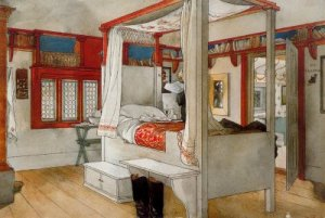 """Carl Larsson - """"La habitación de papá"""" (c.1895) - la imagen muestra el interior de un dormitorio con una gran cama con dosel en el centro. El suelo es de tarima de madera en su color natural marrón claro. Las paredes son blancas y las ventanas, vigas y puertas están pintadas de color rojo. La cama y sus ropas son blancas. Pulse para ampliar."""