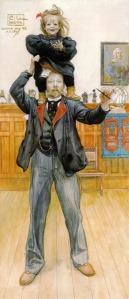 """Carl Larsson - """"Autorretrato con Brita"""" (1899) - La imagen muestra un retrato de cuerpo entero del pintor, vestido con traje y corbata roja, que sostiene sobre sus hombros a la pequeña Brita, que ríe a carcajadas mientras su padre hace gestos de asombro. Pulse para ampliar."""