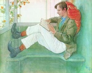 """Carl Larsson - """"Esbjörn leyendo en el porche"""" (1919) - la imagen muestra el interior de un porche pintado de verde. En un extremo vemos a un chico sentado, con los pies en alto, concentrado en la lectura de un libro. Tiene la espalda apoyada en la pared de la casa y la cabeza en un cojin rojo. Pulse para ampliar."""