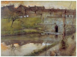 """Carl Larsson - """"El estanque"""" (acuarela) - 1883 - La imagen muestra un paisaje en el que en un primer plano aparece el agua quieta de un estanque donde se refleja el puente que hay al fondo, el cielo (con tonos rojizos) y la orilla opuesta, con los árboles sin hojas. Al fondo se adivina a contraluz la silueta de un pueblo. Pulse para ampliar."""