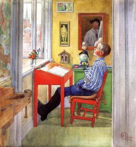 """Carl Larsson - """"Esbjörn haciendo los deberes"""" (1912) - La imagen muestra una habitación con el suelo de tablas verdes y las paredes amarillas, Pegado a una ventana hay un pupitre rojo y ante él se sienta un muchacho de unos 12 años. Está reclinado hacia atrás, con la mirada ausente, haciendo caso omiso de las hojas de papel que hay sobre su pupitre. Pulse para ampliar."""
