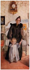"""Carl Larsson -  """"Karin y Kersti"""" (1898) - La imagen muestra a Karin, la mujer del pintor, de pie en un dormitorio del que apenas se aprecia nada salvo una cama pequeña de color blanco. Va vestida de negro, lleva el pelo recogido en un moño alto y mira con seriedad al espectador mientras sujeta con delicadeza la mano de un bebé de dos años que apenas se tiene en pie. con la otra mano, le acaricia la barbilla. Pulse para ampliar."""