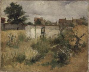 """Carl Larsson - """"Estudio de paisaje en Barbizon"""" (1878) - La imagen muestra un paisaje oscuro, pintado en colores verdes y pardos. En primer plano hay varios matojos de plantas silvestres, en el medio de la composición, más alejados de la vista, los restos de una construcción en colores blancos sucios. al fondo se distingue el horizonte y un árbol. y sobre todo ellos, un cielo gris plomizo, cubierto de nubes. Pulse para ampliar."""