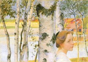 """Carl Larsson - """"Lisbeth con abedules"""" (1910) - La imagen muestra un primer plano de su hija Lisbeth, de perfil, con el pelo recogido con un lazo negro, apoyada sobre el tronco de un abedul. Alrededor se aprecian más troncos de estos árboles. La chica mira hacia la derecha con un cierto aire melancólico. Pulse para ampliar."""