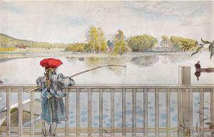 """Carl Larsson - """"Lisbeth pescando"""" (1898) - La imagen muestra a una niña pequeña de espaldas al espectador, con un vestido azul y gorro rojo. Está apoyada en un pretil de un puente, aunque apenas lo sobrepasa y lanza su caña sobre él hacia el agua del río que hay debajo. Pulse para ampliar."""