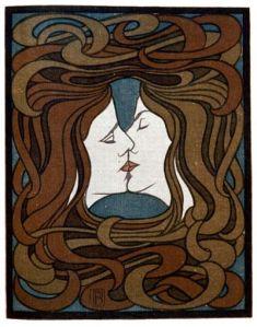 """Peter Behrens: """"El Beso"""" - Xilografía (1898) - La imagen muestra un cartel realizado con la técnica de la xilografía (grabado en madera): en el centro aparecen dos rostros, uno masculino a la izquierda y otro femenino a la derecha que se encuantran en el momento de besarse en los labios. De sus cabezas salen mechones de cabellos largos que enmarcan toda la imagen y acaban por entrelazarse, formando un marco. Pulse para ampliar."""
