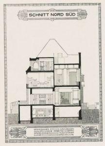 Peter Behrens - Sección norte sur de la casa de la colonia de Mathildenhöhe - la imagen muestra un dibujo arquitectónico de una sección de la vivienda en su eje norte-sur de modo que podemos ver su interior: el semisótano, los dos pisos y la buhardilla. Pulse para ampliar.