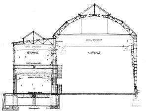 Peter Behrens: Sección de la Fábrica de Turbinas de AEG en Berlín (1908) - La imagen muestra un dibujo arquitectónico con la sección de la fábrica de turbinas donde se aprecia que el edificio más elevado (el coronado por el frontón poligonal) no tiene ningun tipo de compartimentación en su interior, siendo una nave totalmente diáfana. El otro edificio de menos altura, por el contrario, sí está articulado en dos plantas. Pulse para ampliar.