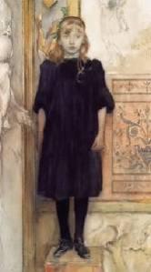 """Carl Larsson - """"Retrato de su hija Suzanne con 10 años"""" (1894). La imagen muestra a una niña vestida de negro, con gesto serio, posando, de pie, en la esquina de una habitación de la que sólo se distinguen un mueble detrás de ella. Pulse para ampliar."""