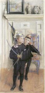 """Carl Larsson - """"Ulf y Pontus jugando"""" (1894) - La imagen muestra a dos niños en una habitación. están de pié, vestidos de igual manera (pantalones cortos y camisa azul marino). Llevan cascos militares y el que aparece delante, una espada de juguete en la mano. Pulse para ampliar."""