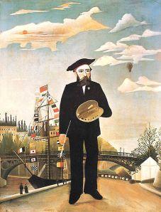"""Henri Julien Felix Rousseau, llamado """"El Aduanero"""": """"Yo mismo"""" (1890) - La imagen muestra un autorretrato del pintor, de cuerpo entero, vestido con traje y boina negros y sosteniendo una paleta de pintor en su mano izquierda y un pincel en la derecha. Está situado en medio de una calle que parece llevar a un embarcadero fluvial. al fonde se ve un barco con los mástiles engalanados de banderitas de colores. El cielo está limpio y claro, salpicado por pequeñas nubes de color anaranjado. Pulse para ampliar."""