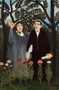 """Henri Julien Felix Rousseau, llamado """"El Aduanero"""": """"La musa inspirando al poeta.Retrato de Guillaume Apollinaire y Marie Laurencin"""" (1909)"""