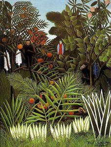 """Henri Julien Felix Rousseau, llamado """"El Aduanero"""": """"Paisaje exótico"""" (1908) - La imagen muestra un paisaje en el que en primer plano vemos una sucesión de matorrales. Detrás de ellos, una serie de arbustos de mayor altura. Por detrás de esos arbustos, árboles de grandes hojas y frutos de colores. Sobre la rama de uno de esos árboles aparece un pájaro extraño, gris y rojo, de gran tamaño, que observa fijamente al espectador. El cielo es apenas un triángulo azul en la parte superior del cuadro: todo está lleno de vegetación frondosa de colores brillasntes. Pulse para ampliar."""