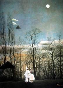 """Henri Julien Felix Rousseau, llamado """"El Aduanero"""": """"Tarde de Carnaval"""" (1886) - La imagen muestra un cuadro en el que aparece un paisaje bastante oscuro. En la parte inferior se aprecia césped y diferfentes plantas, representadas de modo bastante estilizado. En medio del paisaje, y en tamaño pequeño, aparecen dos figuras vestidas de Pierrot y Colombina (dos personajes de la """"commedia dell´arte"""" italiana), en color blanco, que caminan absortos en su conversación. La parte superior del cuadro lo ocupa el cielo, que tiene una tonalidad plomiza, como si fuera a estallar una tormenta. En lo alto del cielo, brilla una luna llena que parece iluminar toda la escena. Todo tiene un aire un poco irreal, como si fuera un sueño más que una representación de una escena convencional. Pulse para ampliar."""