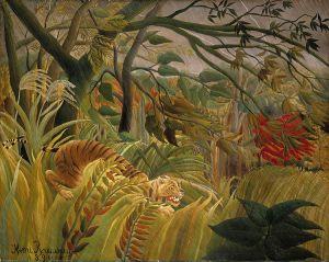 """Henri Julien Felix Rousseau, llamado """"El Aduanero"""": """"Tigre en una tormenta tropical"""" (1891)"""