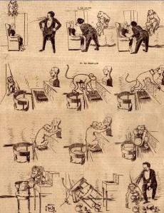 Marius Rossillon (O´Galop) - Historieta para Le National Illustré (1895) - La imagen muestra una historieta contada en varias viñetas. En las cuatro primeras aparece un mago hipnotizando a una muchacha que está sentada en un sillón. Desde lo alto de un armario, un mono observa atentamente el proceso. En las viñetas siguientes vemos como el mono se apresura a ir hacia un piano que tiene sobre él un busto de escayola. El mono agarra el busto e imita los gestos del mago en un intento de hipnotizar a la estatua. Como no lo logra, forcejea con él y acaba por romperlo, lo que le vale el castigo del mago. Pulse para ampliar.