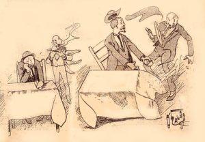 Marius Rossillon (O´Galop) - Ilustración para Le National Illustré (1893) - La imagen muestra el interior de un restaurante. Se ven dos mesas ocupadas por sendos hombres. Uno de ellos está cabizbajo, con aspecto preocupado, apoyando la cabeza en su mano. a su lado, un camarero está a punto de servirle su comida. En la otra mesa, el comensal se ha levantado de repente con gesto airado y el camarero que boa a servirle ha trastabillado con el susto y está a punto de caer hacia atrás. Pulse para ampliar.