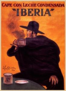 Leonetto Cappiello - Cartel publicitario para Café con Leche Condensada Iberia (1924) - La imagen muestra, sobre fondo anaranjado, la figura de un hombre embozado con capa y sombrero negros, que bebe una taza de café humeante. A su lado, sobre la mesa, un bote de Café con Leche Condensada Iberia. Pulse para ampliar.
