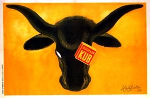 Leonetto Cappiello - Cartel publicitario para Caldo Concentrado Kub (1931) - La imagen muestra, sobre un fondo anaranjado, la cabeza de un buey. Es de color negro y sobre uno de sus ojos aparece un cubo de caldo en el que está escrito KUB. Pulse para ampliar.