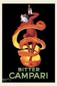 Leonetto Cappiello - Cartel publicitario para Campari (1921) - La imagen muestra, sobre fondo negro, la figura de un payaso vestido de rojo envuelto en una monda de naranja que sostiene en su mano izquierda una botella. Bajo la figura, aparece escrito Bitter Campari. Pulse para ampliar.