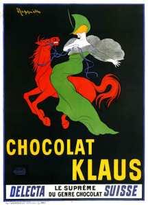 Leonetto Cappiello - Cartel publicitario para Chocolat Klaus (1903) - La imagen muestra un cartel rectangular vertical. Sobre un fondo negro se destacan las figuras de un caballo rojo brillante sobre el que va montada una mujer rubia vestida con un traje verde brillante. Bajo las figuras, en letras amarillas, aparece escrito Chocolat Klaus. Pulse para ampliar.