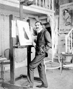 Leonetto Cappiello en su estudio del Boulevard Malesherbes, 194 de Paris (1902) - La imagen es una fotografía en blanco y negro donde aparece Cappiello de cuerpo entero, vestido de forma elegante, delante de un caballete sobre el que hay un papel con lo que parece un boceto de un cartel. Cappiello mira a la cámara con una media sonrisa, lleva un bigote con las puntas engominadas y tiene la mano izquierda en el bolsillo del pantalón, en una pose un tanto indolente. Pulse para ampliar.