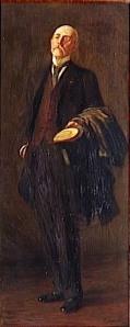 Leonetto Cappiello - Retrato de Henri de Regnier (1910) - La imagen muestra un retrato en formato rectangular vertical de un hombre de cuerpo entero sobre un fondo de color tierra. Va vestido con un terno elegante y en su brazo izquierdo sostiene un abrigo. En la mano izquierda sostiene un sombrero de copa. El hombre alza la cabeza como en un gesto altivo. Pulse para ampliar.