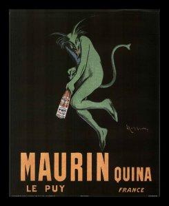 Leonetto Cappiello - Cartel publicitario para Quina Maurin (1906) - La imagen muestra, sobre fondo negro, la figura de un diablo verde con cuernos y barba puntiaguda y rabo, que sostiene una botella. Debajo, aparece escrito Maurin Quina. Pulse para ampliar.