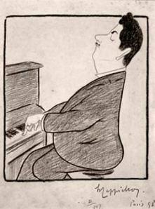 Leonetto Cappiello -Caricatura de Giacomo Puccini para el número 191 de la revista La Rire (2 julio de 1898) - La imagen muestra un dibujo a lápiz en el que aparece el músico sentado al piano, que toca con gesto a medio camino entre altivo y concentrado en su tarea. Pulse para ampliar.