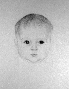 Leonetto Cappiello - Retrato de su hija Françoise con cuatro meses (1902) - La imagen muestra un dibujo a lápiz del rostro de un bebé rechoncho y de expresión seria, acentuada por la mirada fija de sus grandes ojos negros. Pulse para ampliar.