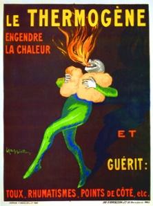 Leonetto Cappiello - Cartel publicitario para Thermogene (1907) - La imagen muestra sobre fondo negro una figura de color verde brillante que sostiene contra su pecho dos almohadillas que producen calor. De su boca salen llamas. Sobre la figura, aparece escrito Le Thermogene. Pulse para ampliar.