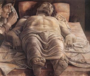 La imagen muestra una perspectiva del cuerpo de Jesucristo yaciendo sobre una especie de mesa de piedra bastante elevada, situada a la altura de nuestros ojos. Está visto desde los pies, creándose un escorzo bastante violento. En la parte izquierda aparece el rostro de la Virgen, muy envejecida, sollozando y enjugándose las lágrimas que ruedan por su mejilla. A su lado se aprecia el perfil de un hombre (quizá San Juan) con expresión compungida. Pulse para ampliar.