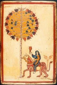 La imagen muestra una página de un códice. Tiene una orla estrecha de color rojo a su alrededor. En el centro aparece la figura bastante esquematizada de una mujer vestida con pantalones y túnica azul, que lleva una copa en la mano derecha y que cabalga sobre un animal cuadrúpedo de difícil identificación y que es de color rojo. A su lado, aparece un árbol muy estilizado, de tronco muy fino y copa redonda formada por hojas que parecen de palmera. Pulse para ampliar.