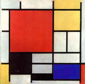 La imagen muestra un cuadro de formato casi cuadrado que está dividido en varios rectángulos de diferentes tamaños y orientaciones repartidos por toda la superficie del lienzo. Esos rectángulos son amarillos, azules, rojos, negros y blancos y están distribuidos formando un ritmo visual por los colores y la orientación de las formas. Pulse para ampliar.