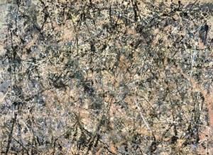 La imagen muestra un cuadro de formato rectangular alisado que está totalmente cubierto por salpicaduras de pintura negra, gris, malva y blanca que forman ritmos curvos y espirales. Pulse para ampliar.
