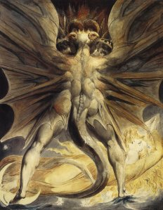 La imagen muestra un plano general de un monstruo con forma humana visto de espaldas. Es gigantesco y los músculos están muy marcados. A la altura de sus omoplatos surgen dos grandes alas como las de un murciélago y tiene una cola larga y gruesa como una gran serpiente. De su cabeza, que se inclina ligeramente hacia abajo, sólo se aprecia la nuca y dos grandes cuernos similares a los de un carnero que salen de sus sienes. A sus pies, tendida boca arriba y mirándole fijamente, está una mujer rubia, vestida en tonos dorados, que parece emanar luz y que contrasta con la figura oscura y amenazadora del hombre dragón. Pulse para ampliar.