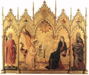 La imagen muestra una pintura sobre tabla. El soporte es apaisado y está rematado en la parte superior a modo de edificio gótico, con pináculos y arcos apuntados de madera dorada. El fondo de la pintura es dorado y sobre ese fondo se disponen las figuras de la escena de la Anunciación. En los extremos, las figuras de los dos santos. Y en la parte central, la anunciación: el arcángel San Gabriel está a la izquierda de perfil y arrodillado, sosteniendo una vara de azucenas. La virgen está sentada, a la derecha, de tres cuartos y con gesto de rechazo. Pulse para ampliar.