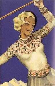 La imagen muestra en primer plano la figura de una mujer rubia que nos mira sonriente. La posición de la figura es diagonal: en la parte inferior derecha podemos ver parte de su falda y en línea a la parte superior izquierda el resto de su cuerpo. Lleva un jersey de punto de cuello alto con motivos geométricos en pecho y cenefa inferior ceñido al cuerpo. Levanta los brazos por encima de su cabeza, aunque sólo se parecia parte del brazo izquierdo que parece sostener un bastón de esquí. al fondo y recortadas sobre un cielo profundamente azul, pueden verse los picos nevados de varias montañas. Pulse para ampliar.