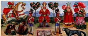 La imagen muestra una ilustración en formato rectangular horizontal donde se presentan una serie de personajes: de izquierda a derecha, un príncipe a caballo, una liebre y una ardilla, sos pequeños soldados que flanquean a un rey sentado en su trono y que sostiene un cetro, un lobo, una reina con una gran rosa en su cabeza y una muchacha con un traje colonizo y con un sombrero hecho de pétalos de flor. Pulse para ampliar.