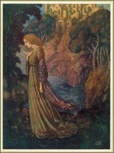 La imagen muestra a una muchacha en primer plano, con un vestido en tonos morados y dorados. Tiene una pose lánguida y baja un poco la cabeza, como si estuviera pensativa. Detrás de ella se ve el mar, el perfil de una costa, y al fondo, parte de una ciudad amurallada. Pulse para ampliar.
