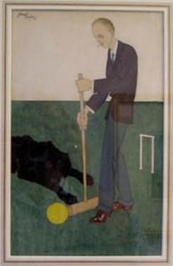 La imagen muestra a un hombre alto y desgarbado, vestido con traje de tonos azulados. Lleva en las manos un mazo de croquet con el que intenta dar a la bola amarilla que tiene ante él. Pulse para ampliar.